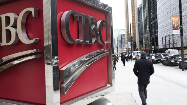 Signage is displayed outside the Canadian Imperial Bank of Commerce (CIBC) in the financial district of Toronto, Ontario, Canada, on Friday, Feb. 14, 2020. Canadian stocks declined with global markets, as authorities struggled to keep the coronavirus from spreading more widely outside China. However, investors flocking to safe havens such as gold offset the sell-off in Canada's stock market.
